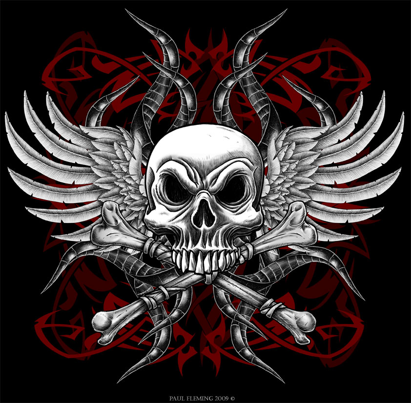 The gallery for Skulls And Crosses Wallpaper