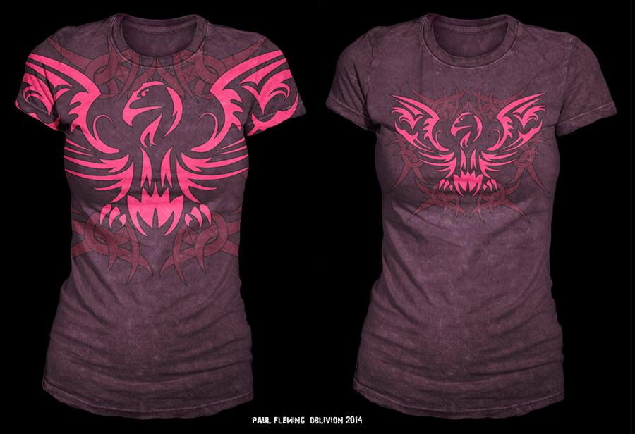 Oblivion tribal bird female t shirt sample design by for T shirt sample design