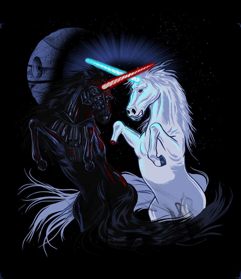 Starwars with unicorns black by biotwist