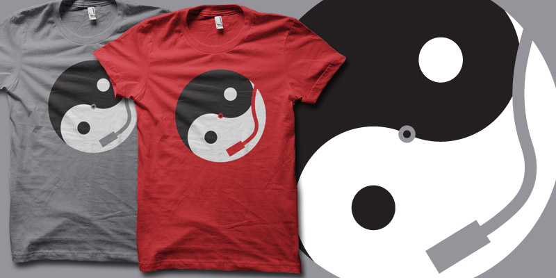 Vinyl Yinyang t-shirt by biotwist