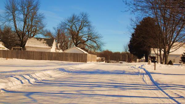 Snowy Street by XPurpleHaloX