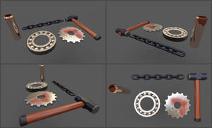 Assorted Metal Objects - Substance Painter Render