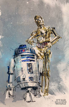 r2d2 c3po - Disney commission (Star Wars)