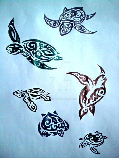Tribal turtles tattoo designs by vermilionchaos on deviantart for Little turtle tattoo