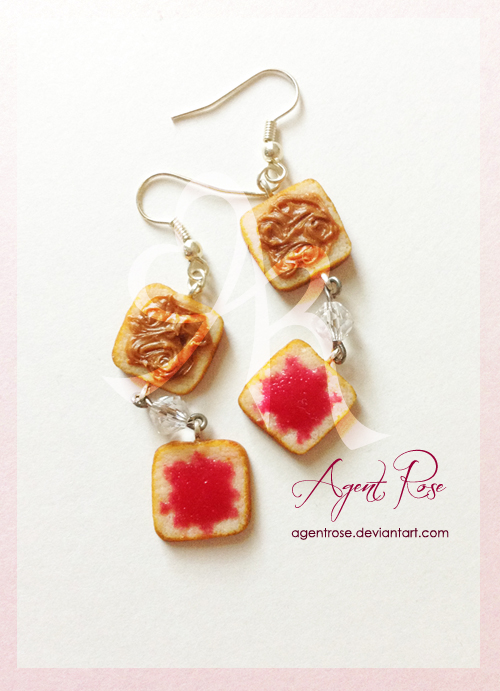 Peanut Butter and Jelly Earrings by AgentRose on DeviantArt