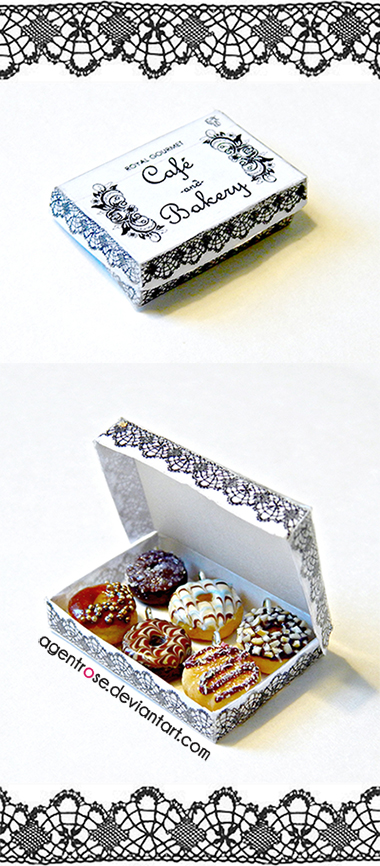 Mini Frosted Chocolate Doughnuts Box by AgentRose