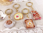 Food Charms: Latte, Cake Roll, Toast, Pancakes by AgentRose