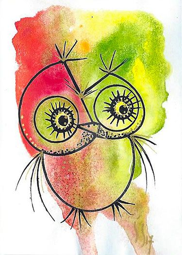 red-and-green-ACEO-OWL by orijuju