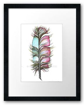 Framed Pink Aqua-feather-aceo by orijuju