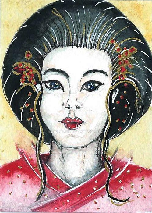 geisha in red ACEO by orijuju
