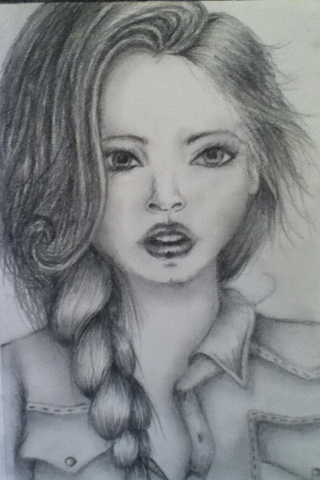 Pencil drawing girl by manga hannah