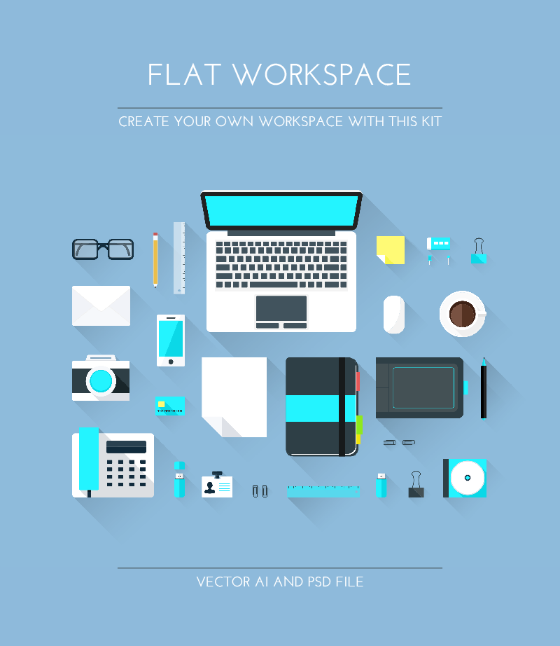 Freebie Flat Workspace Elements By Graphberry On Deviantart