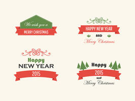 Freebie - Vintage Vector Christmas Badges by GraphBerry