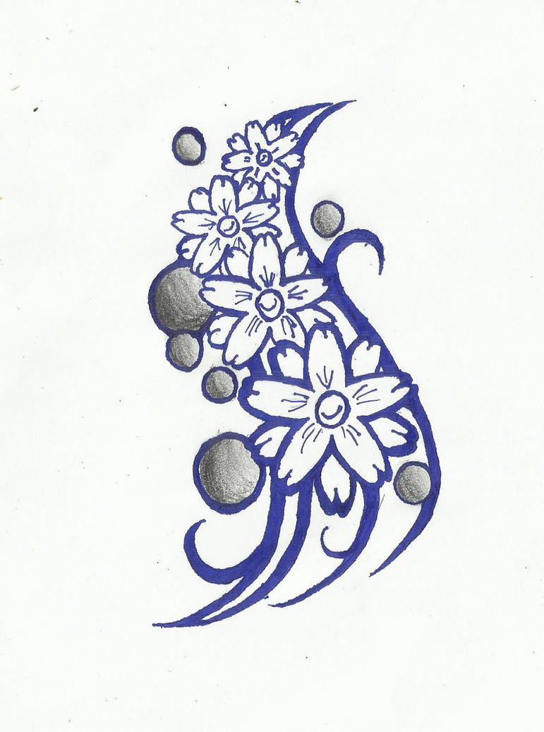 Flowers tattoo design by afromentalna on deviantart for Simple flower designs for pencil drawing