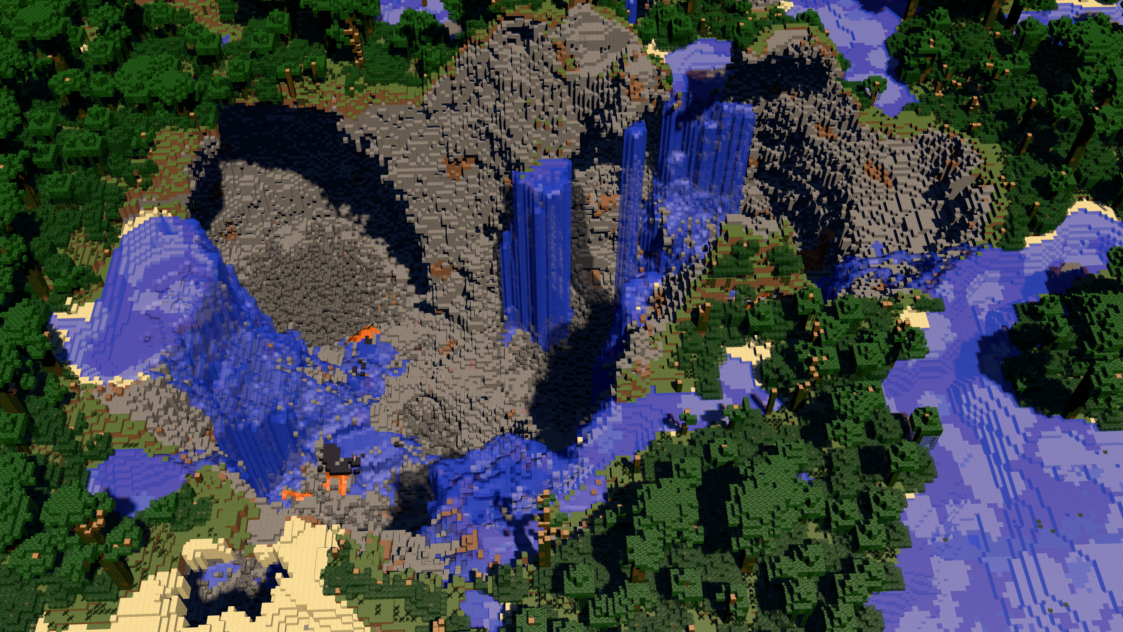 Rendered 4k Minecraft Crater Landscape Wallpaper By