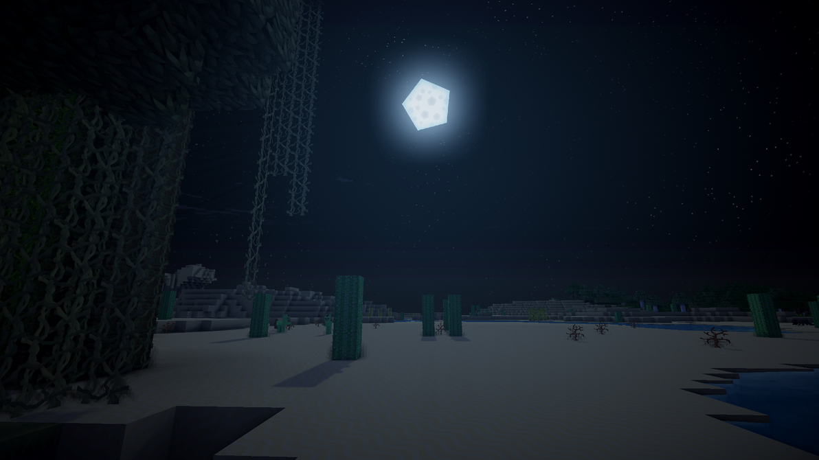 1080p Minecraft Desert At Night Time By Syncedsart On