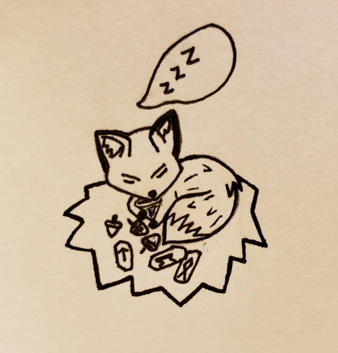 Inktober 2020: Fox, Sleep, Acorn(s), Rune Stones