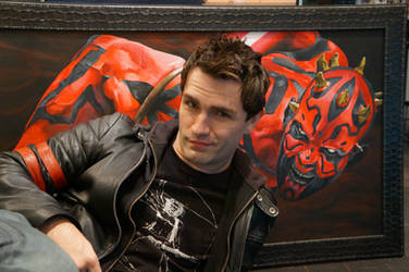 Sam Witwer with my painting of Darth Maul by Rexor101