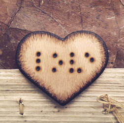 Love is blind - handmade pyrography wooden brooch by Aijoku