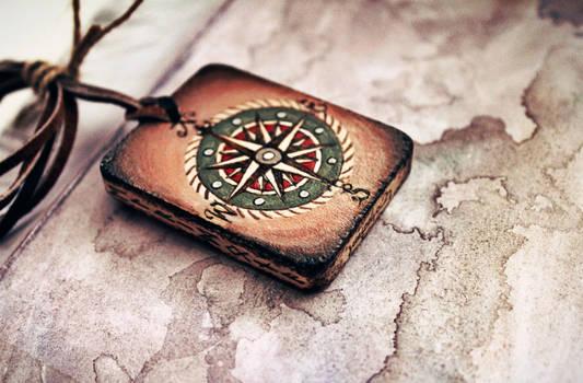 Wooden handmade amulet - Compass