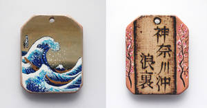 Miniature painting of Hokusai on wooden pendant by Aijoku