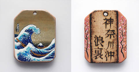 Miniature painting of Hokusai on wooden pendant by Aijoku