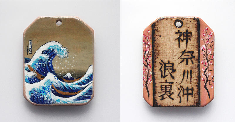 Miniature painting of Hokusai on wooden pendant
