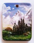 Wooden pendant Albert Bierstadt miniature painting