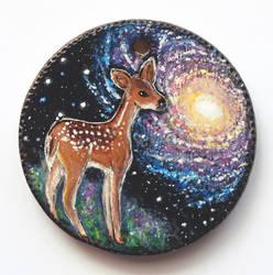 Galaxy doe - Wooden pendant