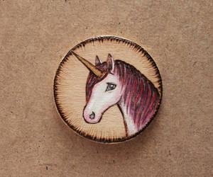 Unicorn - wooden brooch