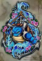 Blastoise Tattoo Commission 2 by RetkiKosmos