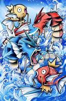 Gyrados and Magikarp by RetkiKosmos