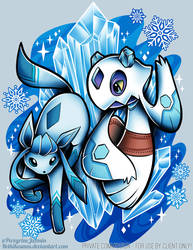 Glaceon Frosslass Commission by RetkiKosmos