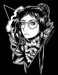 Glasses and Flowers Monochrome by RetkiKosmos
