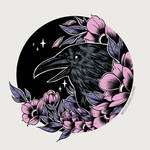 Raven and Flowers