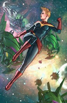 Captain Marvel Carol Danvers in Space