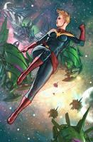 Captain Marvel Carol Danvers in Space by benttibisson