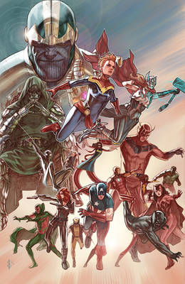 marvel Heroes Pinup Painted