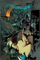 Batman summoning the Batwing. by benttibisson