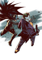 batman and joker action by benttibisson