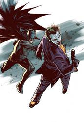 batman and joker action by benttibisson