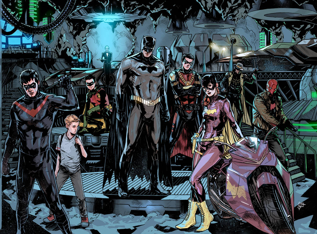 batman and friends just posing in the batcave by benttibisson