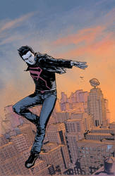 superboy over metropolis by benttibisson