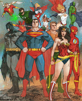 Bentti Bisson Justice League Team Up Colored