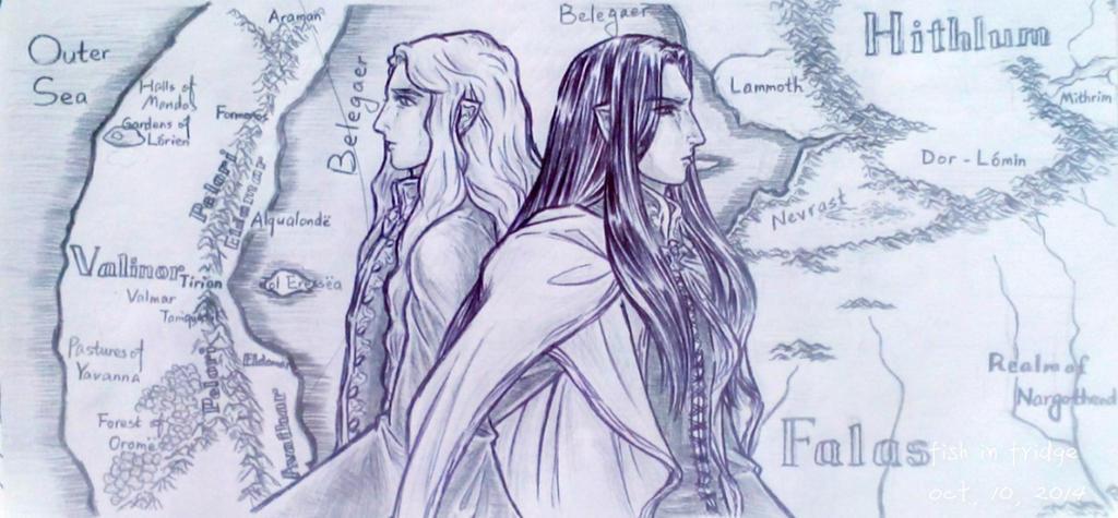 Fingolfin and Finarfin by fish-in-fridge
