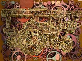 Steampunk vapor car