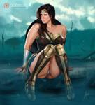 Wonder Woman in battlefield