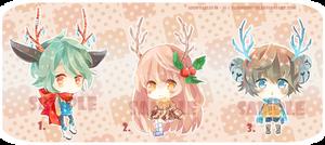 [CLOSE] Adoptables 14 ~16 : Reindeers of X'mas Eve