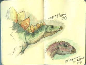 Stegosaurus and Hypsilophodon
