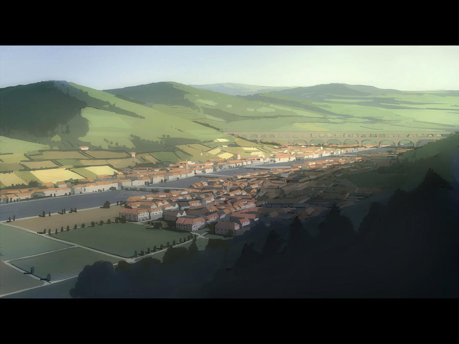 Roman aqueduct with city by guntama
